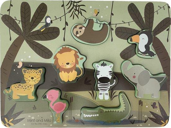 Houten dieren puzzel - HOUTEN DIERENPUZZEL JUNGLE - HOUTEN VORMENPUZZEL met dieren - HOUTEN PUZZEL met dieren - Educatief houten speelgoed vanaf 2 jaar - MET EEN GRATIS ABC POSTER KAART ERBIJ