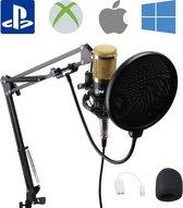 Unique Condensator Microfoon met Arm - Pro Mic - USB & Mini Jack - Plopkap en Popfilter - Studio, PC Microfoon, Game Microfoon, Podcast, Zang & Karaoke