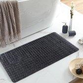 GGGOODS® Badmat antislip - douchemat - 78 x 35 - met zuignappen - anti bacterieel - mat voor in bad - zwart