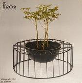 Home - decoratieve Plantenpot - Rond - Staal - Kunststof - H 12 cm - Diagonaal 32 cm