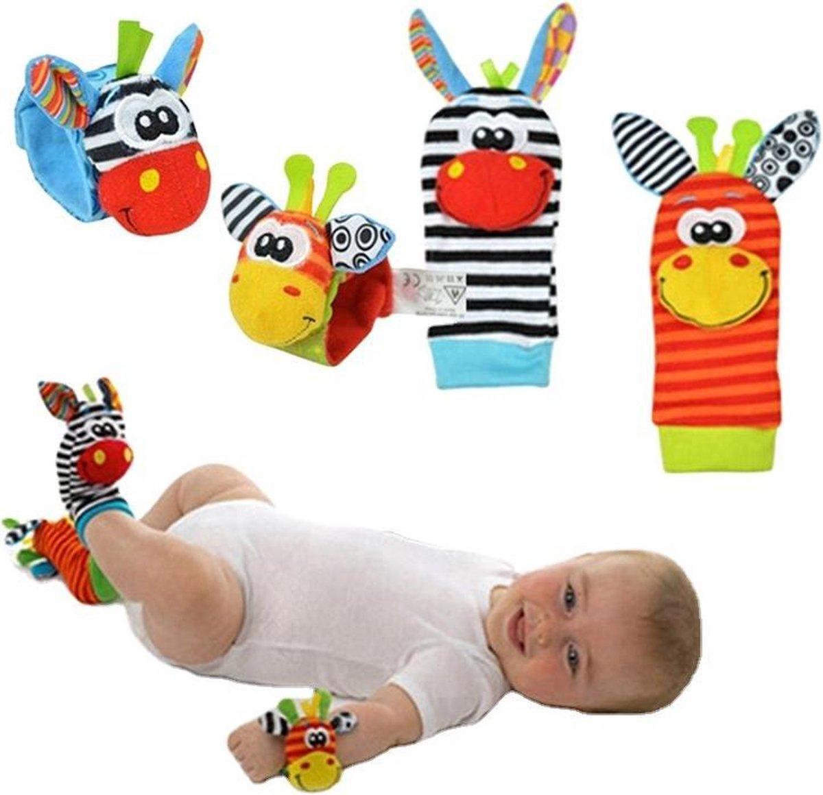 Baby rammelaar | Baby rammelaar sokjes en rammelaar armbanden|4-delig rammelaar set