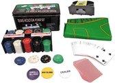 Pokerset - Poker - Texas Hold'em Pokerset - 200 Poker Chips -  Inclusief Automatische kaartenschudmachine - 2 x Speelkaarten - Speelkleed