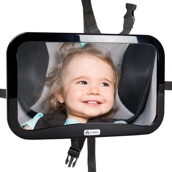Afbeelding van Autospiegel baby - verstelbare spiegel hoofdsteun autostoel achterbank - veiligheidsspiegel - baby en kids - 19 x 30cm - 360 graden draaibaar - zwart
