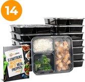 Meal Prep Bakjes - 3 Compartimenten - 14 Stuks - Incl. 6 recepten - Magnetron Bakjes Met Deksel - Vriezer Bakjes Met Deksel - Vershoudbakjes - Diepvriesbakjes - Vershouddoos - BPA Free Vrij - Fitness Meal Prep Voor 2 Weken - 1 liter