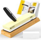 Happy Goods Luxe Dubbelzijdige Slijpsteen Wetsteen set 1000 6000 - Edelkorund (18x6x3 CM) - met GRATIS E-book en egaliseersteen - Slijpsteen voor messen messenslijper keuken accessoires