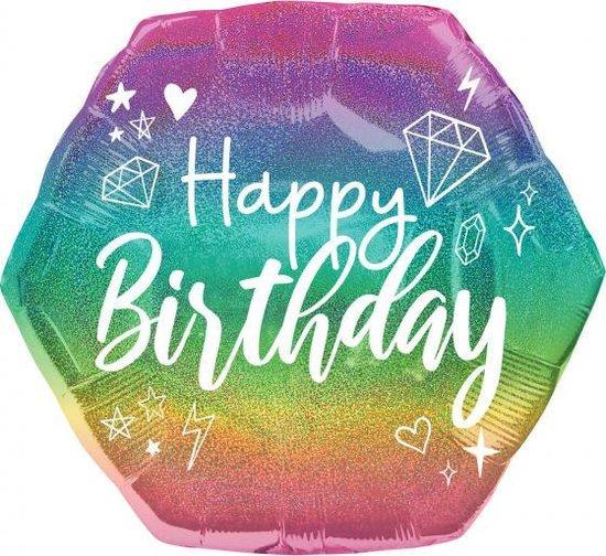 folieballon Happy Birthday junior 58 cm glitter