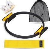 Premium Pilates ring inclusief Resistance band voor een effectieve workout - Yoga ring (38cm) met elastische Weerstandsband (35kg) booty band - Magic circle fitness ring met fitness Weerstandsbanden set| Audacity