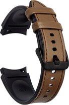 Luxe Lederen Armband Voor Samsung Galaxy Watch4 40mm/44mm / Watch 4 Classic 42mm/46mm - Smartwatch Horloge Bandje - Sportband Armband Polsband Strap - Horloge Band - Sport Watchband - Vervang Horlogeband - Zweet & Weerbestendig - One-Size - Bruin