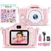 Digitale Kindercamera met 32GB Micro SD Kaart en SD Kaartlezer + Stickervel - Roze