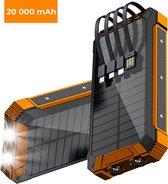 Douxe© - Solar Powerbank – 20.000 mAh batterijcapaciteit – Zonne-energie – Zaklamp – Draadloos opladen – Zwart