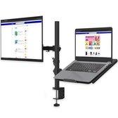 """Dubbele Monitor Arm met Laptop Standaard - Ook Voor 2 Beeldschermen (Max. 27"""") - Beugel is Kantelbaar / Draaibaar / Zwenkbaar - Staal - Zwart"""
