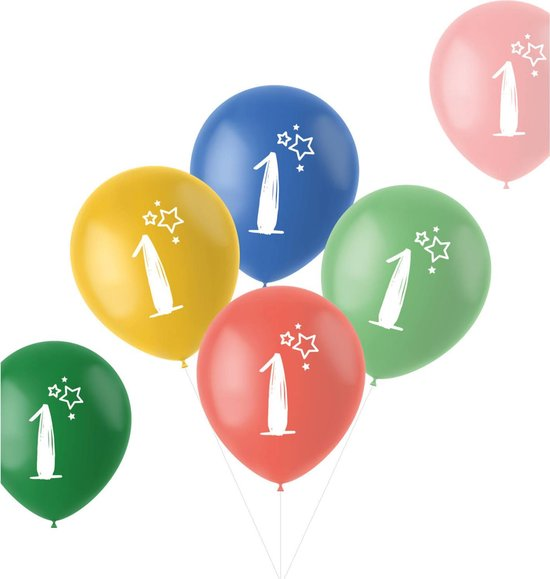 Folat Ballonnen Retro 1 Jaar 33 Cm Latex 6 Stuks