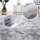 Kamyra® Luxueus Zacht Pluche Vloerkleed/Tapijt - Hoogpolig - voor Woonkamer, Kinderkamer, Slaapkamer - Eenvoudig Wasbaar - Grijs 160 x 200 cm