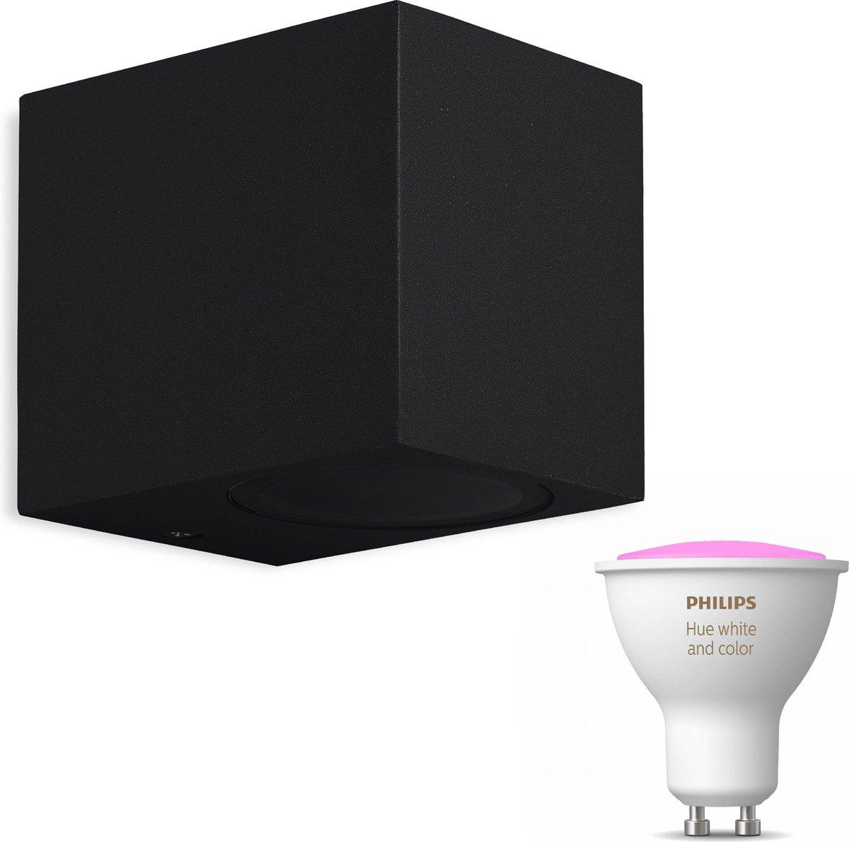 Mantra Kandachu wandlamp vierkant - zwart - 1 lichtpunt - Incl. Philips Hue White & Color Ambiance Gu10 (geschikt voor buitengebruik)