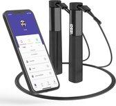 Robi SP3 Slim Fitnesspringtouw met App en teller - Verstelbaar - Sport Springtouw Volwassenen - Zwart