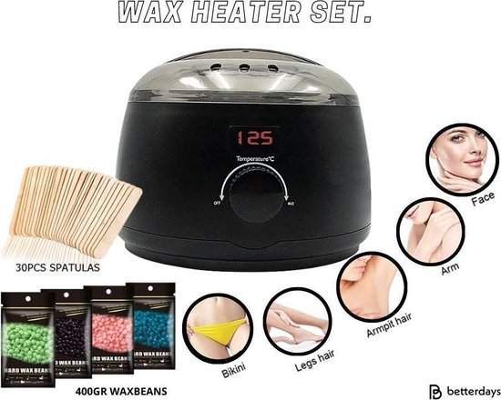 Wax Heater SET! - Harsapparaat - complete ontharings set - incl. 450gr wax bonen - 30 houten spatels - Wax verwarmer - Thuis gebruik - Lichaam ontharing - Gezichtsontharing - Professioneel gebruik - wax ontharen - harsketel