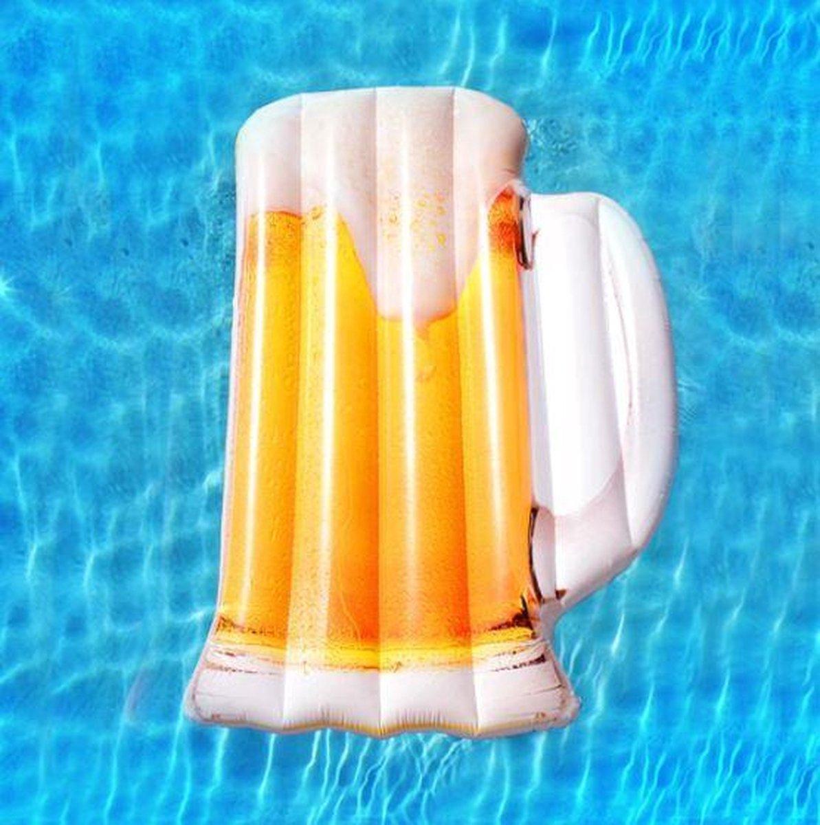 Bierglas luchtbed - Luchtbed bier - Pils luchtbed - Opblaasbed bier - Zwemband bier - Zwembad - 182 cm