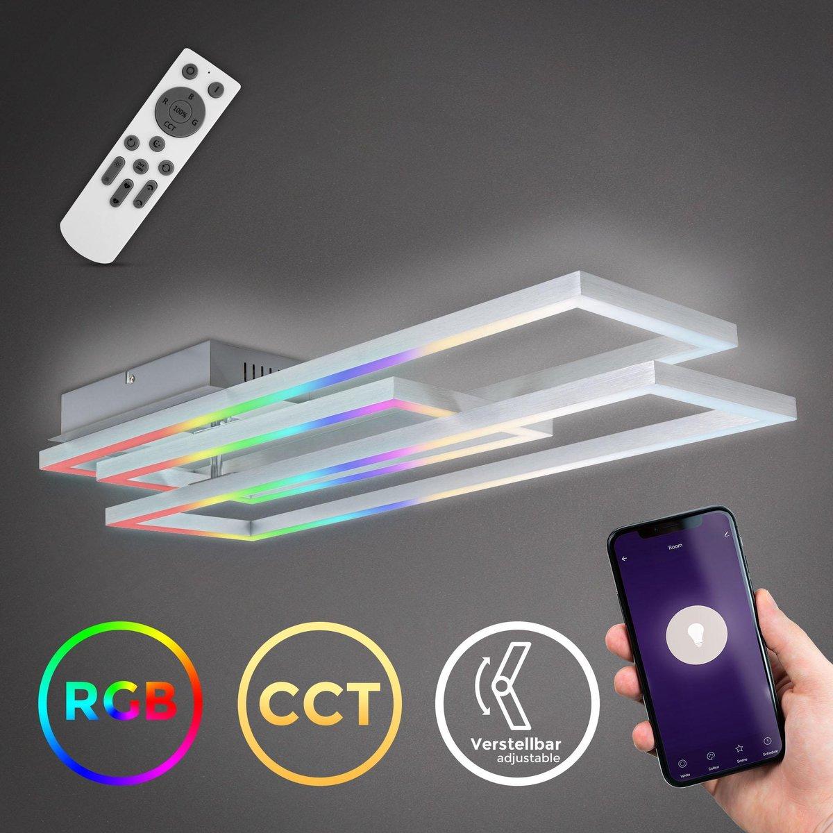 B.K.Licht - LED Frame lamp - Plafondlamp smart - WiFi - Plafonnière - CCT 3000-6500 Kelvin - RGB - app en afstandsbediening - Chroom-Aluminium - dimbaar - 4800 lumen - 48 Watt