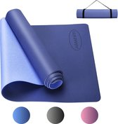 ARMENTI Premium Yoga mat - Anti slip (extra dik) - Eco friendly Zero waste Duurzaam - TPE - Fitness mat - Sport matje - Blauw - Met opbergkoord - Sport materiaal voor thuis - Sport spullen - Matje - Attributen - Artikelen voor workout thuis - Gear