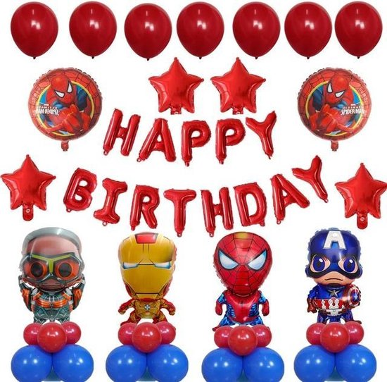 Superhelden Ballonnenset - Superheroes - Themafeest - Versiering - Kinderfeestje - Superman - Spiderman - Captain America - Iron man - Ant man - Rood - Verjaardag