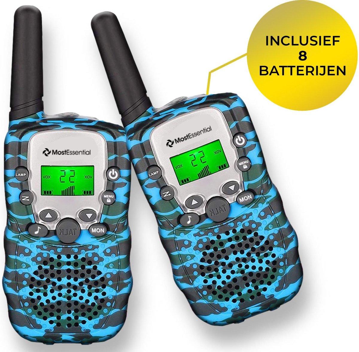 MostEssential Premium Walkie Talkie voor Kinderen - Walkie Talkie - Portofoon - Inclusief 8 Batterijen - Blauw