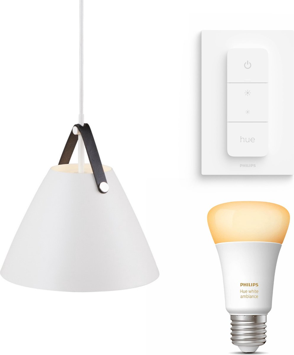 Nordlux Strap 27 hanglamp - LED - wit - 1 lichtpunt - Incl. Philips Hue White Ambiance E27 & dimmer