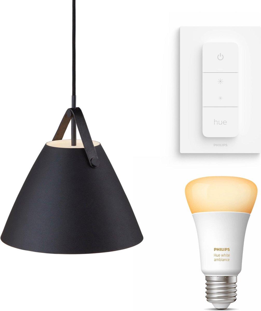 Nordlux Strap 27 hanglamp - LED - zwart - 1 lichtpunt - Incl. Philips Hue White Ambiance E27 & dimmer