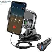 MaxedMore Bluetooth FM Transmitter – Receiver Voor In De Auto – Telefoonhouder – Carkit – Ontvanger – Magneet – Receiver – Handsfree - Zwart