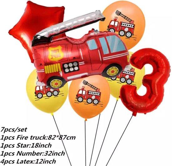 Brandweerwagen Folie Ballon nummer 3 ballonen set 7 delig brandweerwagen