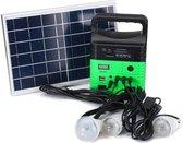 Zonnepaneel, stroomgenerator en verlichtingset groen