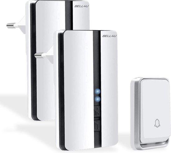 Bell4U® Luxe draadloze deurbel, waarbij batterijen niet nodig zijn - plug & play - 2 ontvangers - Wit