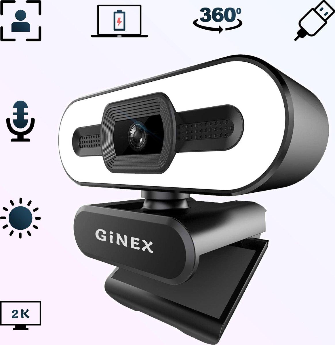 Ginex 2K webcam 2021 Model QHD - webcam met randlamp - ring light - webcam met microfoon - webcam voor laptop - webcams