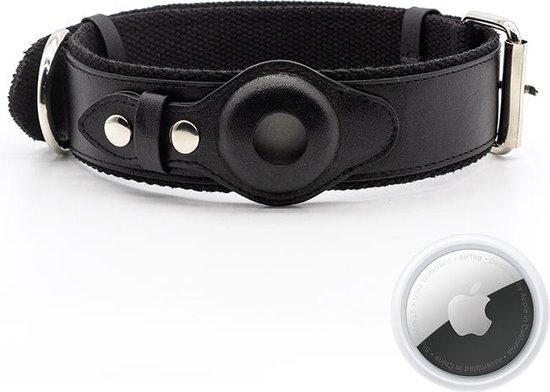 Apple Airtag honden halsband - Airtag hond - honden tracker - gps tracker - halsband hond leer - zwart S - PU Leather