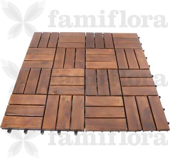 Houten terrastegels acacia 30x30cm - mozaïek - donkerbruin - 9 stuks = 0.81m2