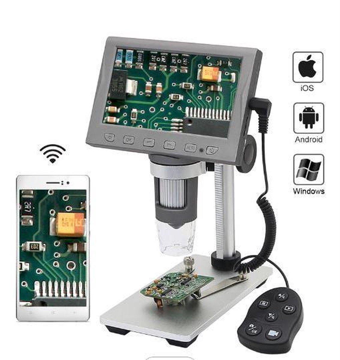 digitale microscoop Wifi,HDMI en LCD 4.5 inch vergroot 50x1000 resolutie 1080 pixels