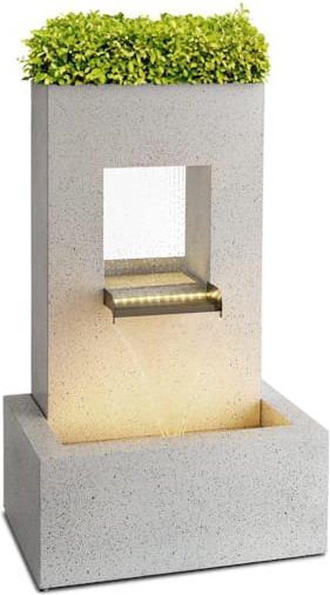 Blumfeldt Bloomingstone decoratieve fontein - 1200 l/h - LED-sfeerlicht - pomp 20W - 51 x 83 x 35 cm - geïntegreerde plantenbak van zink