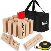 Toyfel XXL kubb spel - vikingspel houten kubb buitenspel voor volwassenen -  gemaakt van massief beukenhout premium FSC® gecertificeerd - spellen Ragnar