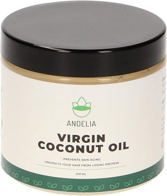 Andelia Virgin Kokosolie | Huile de noix de coco vierge | 100% Puur & Vegan | geschikt Haar & Huid|200ml