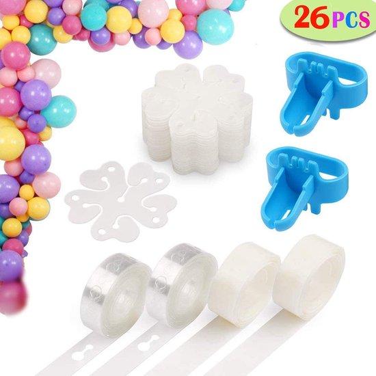 Ballonnenboog - Zinaps ballon boog Garland Kit - 2 rollen van 5 meter ballon tape strips, 2 rollen ballon kleverige stippen, 20 bloemvormige ballonclips, 2 ballon bindende hulpmiddelen -  (WK 02124)