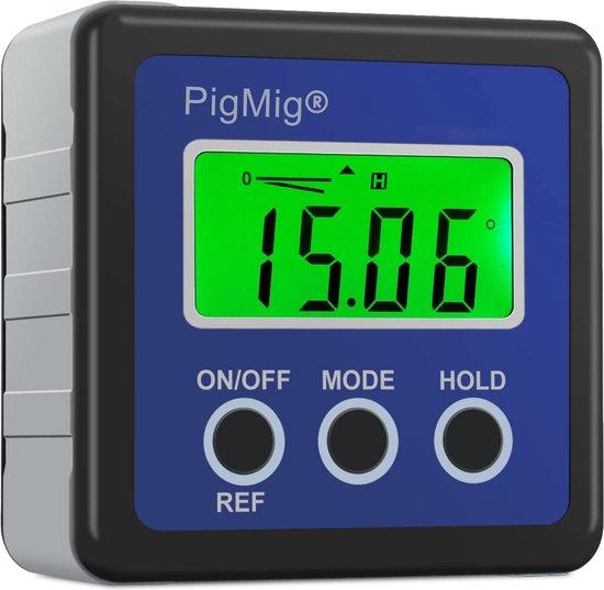 PigMig Digitale Hoekmeter – Precisie Gradenboog - Compacte Waterdichte Waterpas – LCD scherm & Hoesje –met 4 eenheden