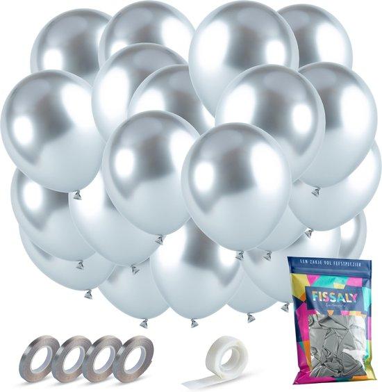 Fissaly® 40 stuks Zilveren Chrome Helium Latex Ballonnen met Lint - Decoratie – 25 Jaar Getrouwd – Feest Versiering Metallic Zilver