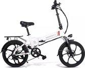 Samebike Elektrische vouwfiet - Shimano 7 speed derailleur - 48V/ 10Ah lithium batterij - aluminium -sportief/modern - 35km/u -  Wit