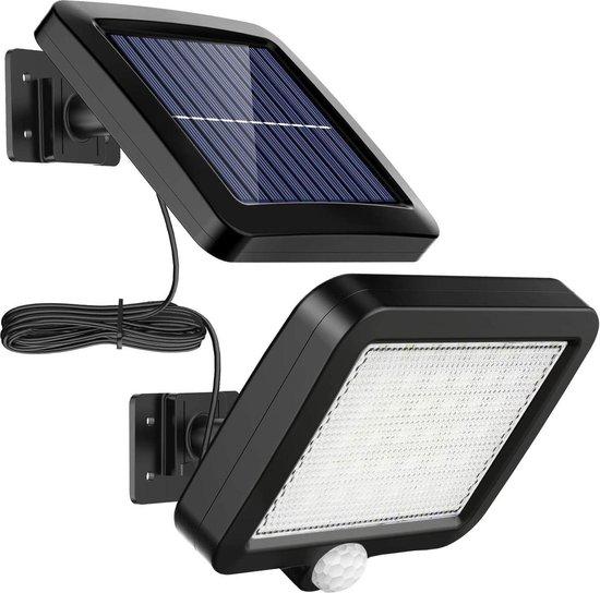 Besjaar Buitenlamp met bewegingssensor op zonne energie - Buitenverlichting met dag nacht sensor -100 led 1100lm - Solar wandlamp buiten -