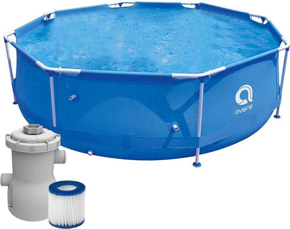 BluMill Zwembad 306cm x75cm - Opzetzwembad- Inclusief Filter - Degelijke 3-laags zijwanden - Familie Zwembad