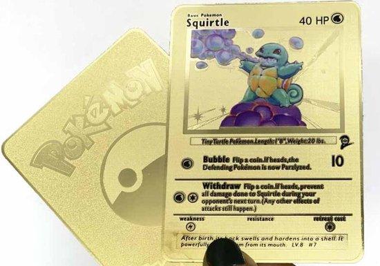 Afbeelding van het spel Squirtle - Pokémon kaart inclusief beschermhoes - Goud - RVS