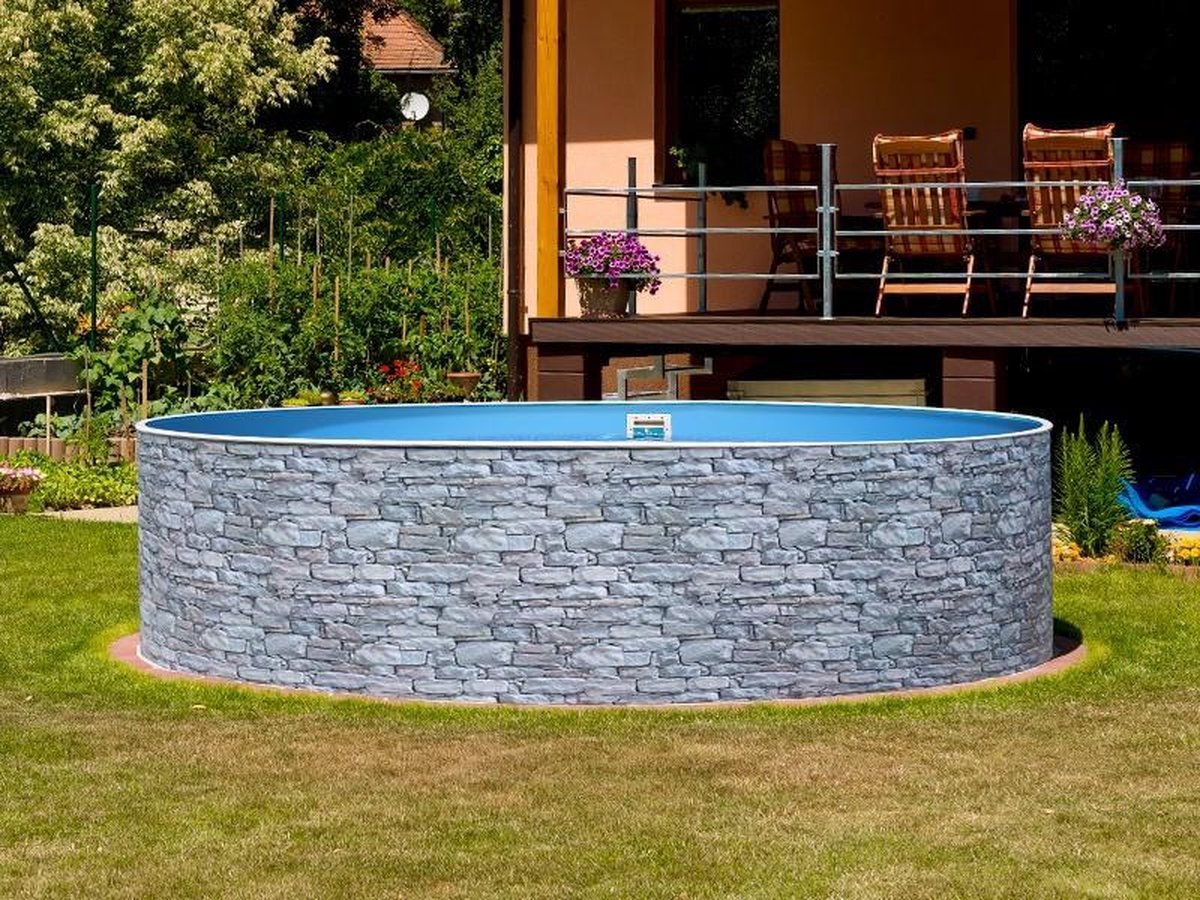 Staalwand zwembad Azuro - liner zwembad - steen design - Afmeting: 3,60 x 0,9 m