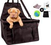 Autostoel Hond Opvouwbaar met Bal & Deken - Hondenmand Auto - Waterdicht Honden Autozitje - Puppy's - Hondendeken - Dog Car Seat Cover - Dierendag - Incl. e-book - Zwart - Quzi®