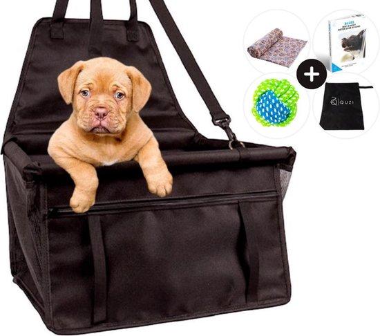 Honden Autostoel met Bal & Deken - Hondenmand Auto - Autozitje Hond - Puppy's - Dog Car Seat - Incl. e-book - Zwart - Quzi®