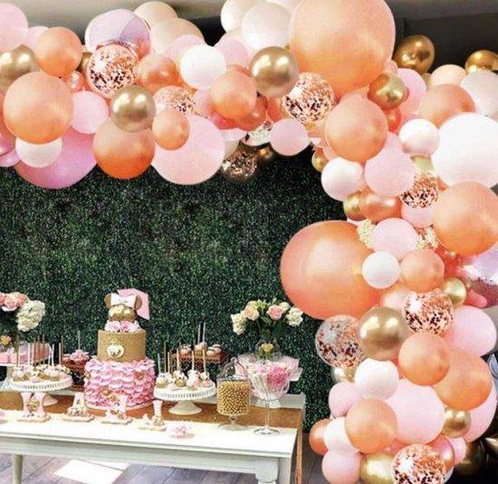Ballonnenboog - Zalm - Roze - Goud - Wit - BIEK20 - met ophanghaakjes - Feestversiering - Partydecoratie - 167 ballonnen - Verjaardag