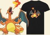 pokemon shirt zwart maat 140 Charizard